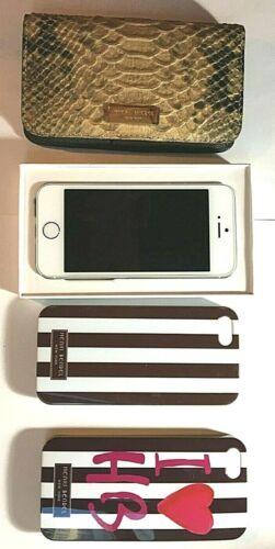 Apple iPhone Bundle:  iPhone 5 Silver Apple Refurb. 32GB, 3 Henri Bendel Cases