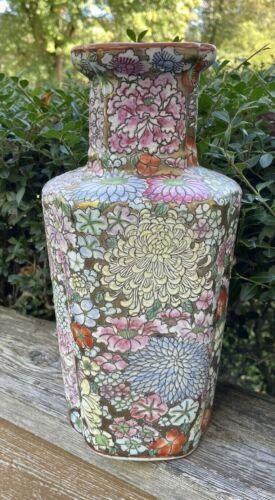 "Ceramic Asian Vase Pink Blue Yellow Garden Florals 12 1/2""s Tall Gold Paint Trim"