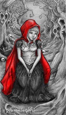Rotkäppchen - DIN A 3 Poster Kunstdruck Dark Gothic Art Gruselig Wald Märchen