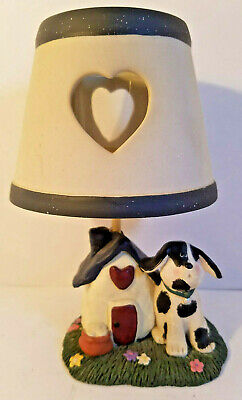 Vintage Stoneware Dog Sitting by Doghouse Votive Candle Lamp - PreOwned