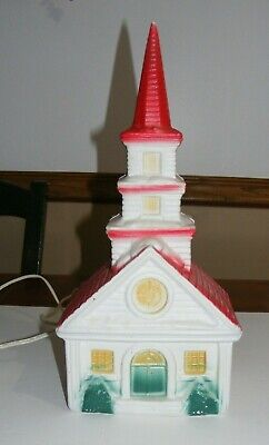 Vintage 60's Blow Mold Church Lights-Up ~~ Really Nice!