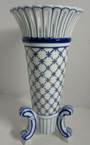 "Vintage Footed Vase Cobalt Blue & White Gold Accents Porcelain 12"" Bombay China"