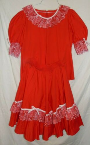 VIntage Square Dance Skirt & Top Red Patchwork Lace Western Rockabilly Malco Med