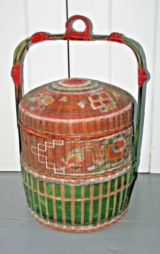 Large Antique Chinese wedding Basket Box Tiered Wicker Painted Woven Asian