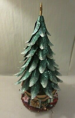 PARTYLITE GLOWING TREE CHRISTMAS TREE TEALIGHT CANDLE HOLDER MUSIC BOX 2003 Christmas Tree Tealight Candle Holder