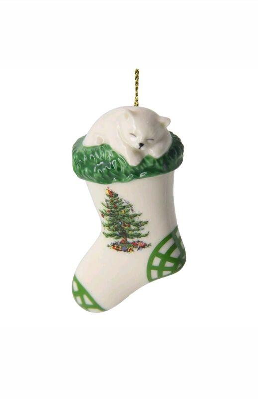 Spode Christmas Tree Ornament, Kitten in Stocking