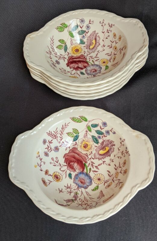 6 VERNON KILNS Lugged Soup Cereal Bowl Handle CHINTZ  Handle METLOX Poppytrail