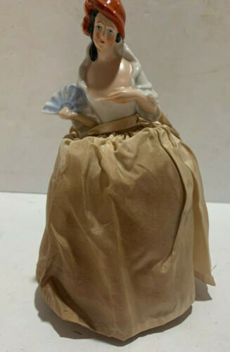 Porcelain Half Doll with Original Pincushion Holding Fan