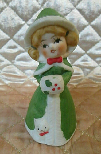 Merri Bells Christmas Bell Porcelain Bisque Girl Figurine Cat Kitten Jasco 1978