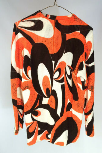 Minty Vintage 60s 70s Psychedelic Orange Retro Atomic Womens Sweater Hippy Boho