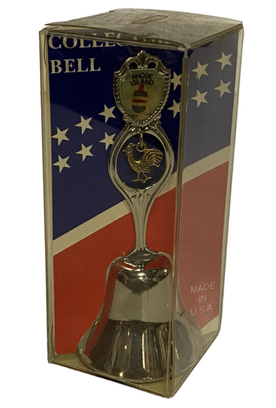 Vintage Rhode Island State Collectors Bell Silver Tone Souvenir Made In USA NEW