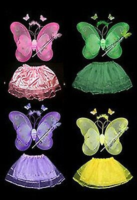 Butterfly Ballerina Costume (Butterfly Fairy Wing 4 Piece Costume Set Tutu Ballerina Dress up Dance)