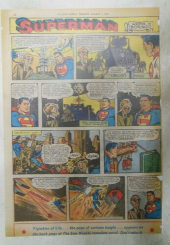 Superman Sunday Page #688 by Wayne Boring from 1/4/1953 Size ~11 x 15 inches PC