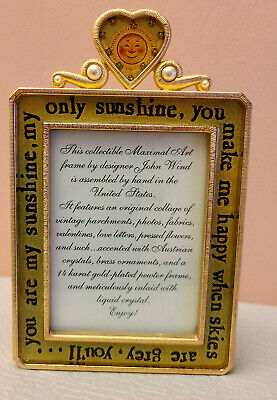 Rare Maximal Art John Wind Picture Frame  Austrian Crystals & Pearl 14kt Gold