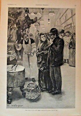 Meat Market, New York, Take em At Your Own Price, Vintage 1888 Antique Art Print