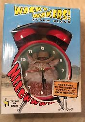 Mark Feldstein Wacky Wakers Cowboy Kitty Meowing Alarm Clock in Box
