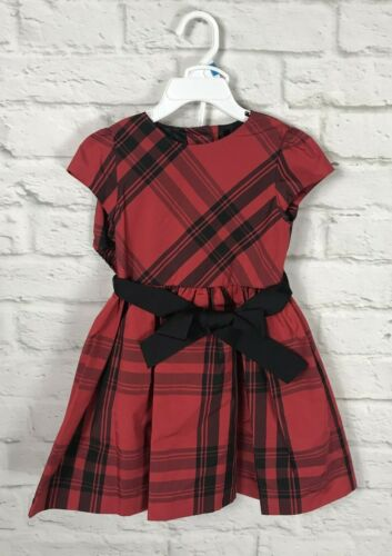NEW Ralph Lauren Baby Girls Red & Black Plaid Holiday Dress Size 24 Months