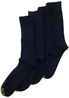 $45 GOLD TOE Men's 4 PAIR PACK BLACK RIBBED COTTON CREW DRESS SOCKS Shoe 6-12 ()