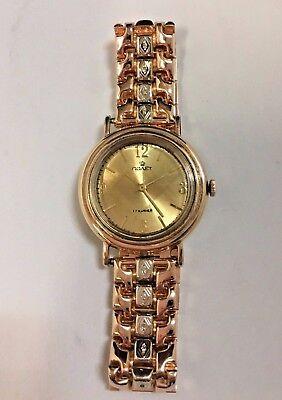 Vintage 14k solid Rose Gold, Diamond, Russian Poljot watch