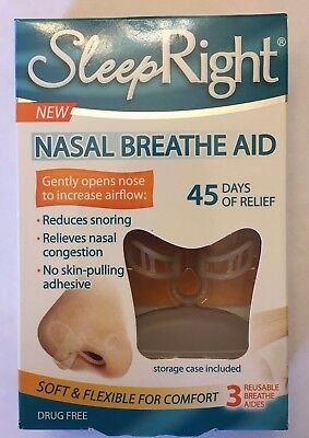 3 Pack Sleep Right Nose Nasal Breathe Aid Stop Snoring Breath Breathing   Case