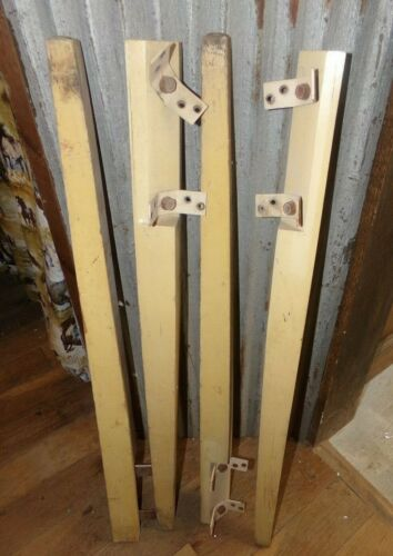 """SET OF 4 VINTAGE FURNITURE LEGS 29.75"""" WOODEN WITH MOUNTING BRACKETS"""
