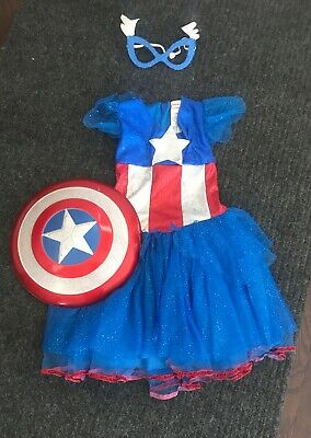 Girls Marvel Captin America Dressup Costume Dress with Shield, Size M 7 - 8](Captin America Costume)