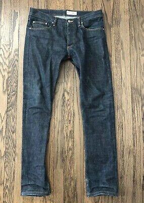 Gustin Mens Slim Fit Classic Straight Fit Raw Denim Selvedge Jean Size 35 X (Classic Raw Denim)
