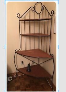 Wood metal corner shelving