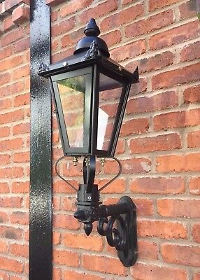 Ex Outdoor Lights - USED Ex-Display Large Black Victorian Garden Wall Light Set With Ornate Bracket