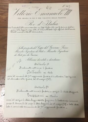 d1945 27TH PRIME MINISTER OF ITALY signed BENITO MUSSOLINI - 1927 Doc. AUTHENTIC