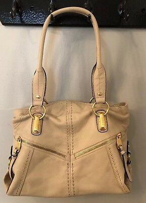 B Makowsky Women's Ivory Leather Satchel Handbag Large L for sale  Shipping to Canada