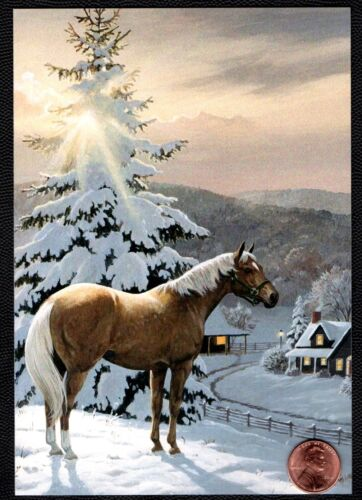 Christmas Horse House Snow Covered Tree Clouds - Christmas Greeting Card NEW