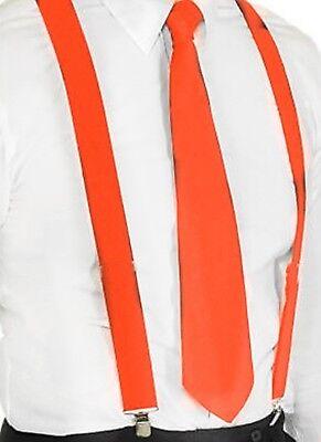Hosenträger und Krawatte Set -Y Form 25mm 3 Clips Herren Krawatte Orange ()
