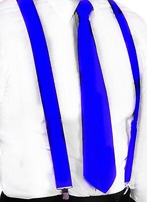 Hosenträger und Krawatte Set -Y Form 25mm 3 Clips Herren Krawatte Royal Blau ()