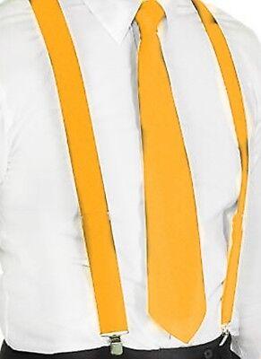 Hosenträger und Krawatte Set -Y Form 25mm 3 Clips Herren Krawatte Gelb ()