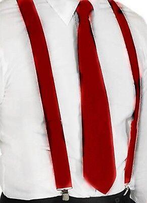 Hosenträger und Krawatte Set -Y Form 25mm 3 Clips Herren Krawatte Weinrot Maroon ()