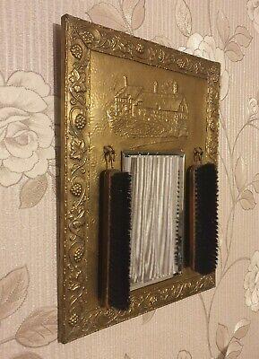Pressed Brass Hall Mirror With Brushes , antique unique