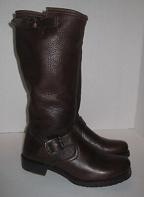 Frye Veronica Slouch Leather Engineer Boots Brown Womens Size 8