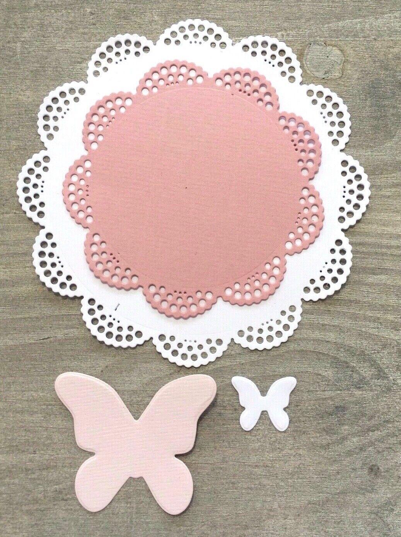 Stanzschablone Cutting dies romantische Zierdeckchen mit Schmetterlingen