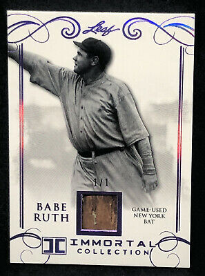 2017 Leaf Babe Ruth #YB-28 Purple New York Bat Card 1/1 Mint *No Reserve!