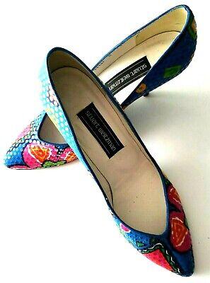STUART WEITZMAN Size 9 Floral Print Blue Pumps Stilettos Multicolor 3