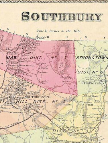 1868 SOUTHBURY, CT., HAND COLORED MAP IN GOOD CONDITION, NOT A REPRINT.