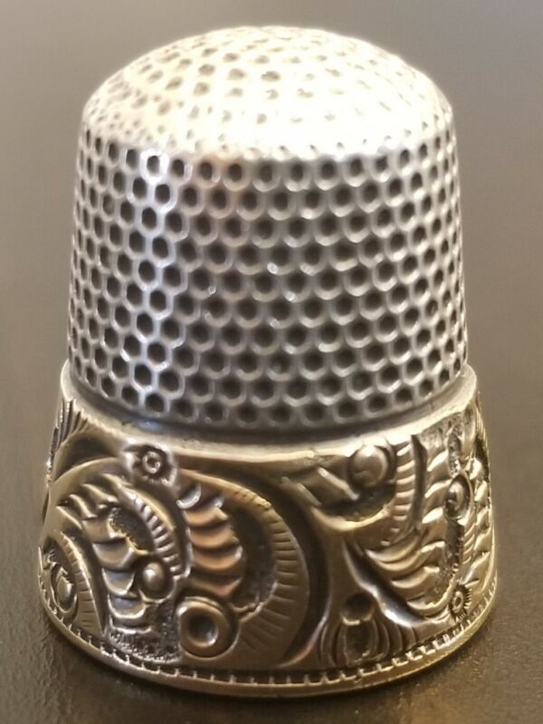 Antique Sterling Silver & 14K Gold Thimble by Ketcham & McDougall