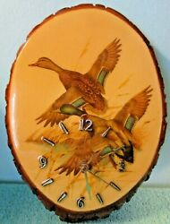Wood Tree Slab Wall Clock, Ducks with Marsh, Hand Crafted, Battery Operated