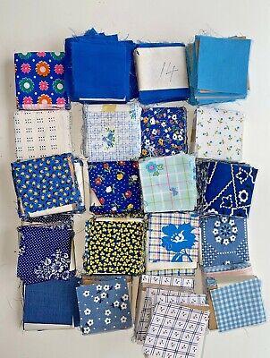 Pre-cut Quilting Fabric*major De-stash To Move*hundreds Of Vintage Blue Squares