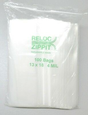 13x18 Ziplock Bags 4 Mil Clear Poly Reclosable Large Jumbo Size13x18 100 Pcs