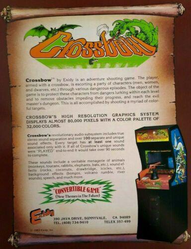 Exidy Crossbow Arcade FLYER Original 1983 NOS Video Game Shooting Gun Artwork