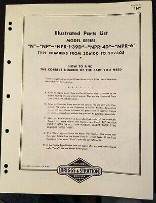 Briggs Stratton Model N Series Parts List Circa 1947 Well Lllustrated Clean