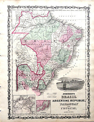 1862 Johnson's MAP BRAZIL ARGENTINE REPUBLIC Paraguay Uruguay Hand Colored. Gift
