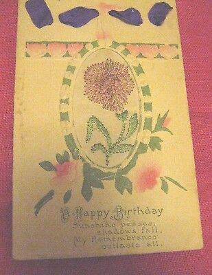 Vintage Embroidered Flower on Silk Embossed A Happy Birthday Postcard Ribbon